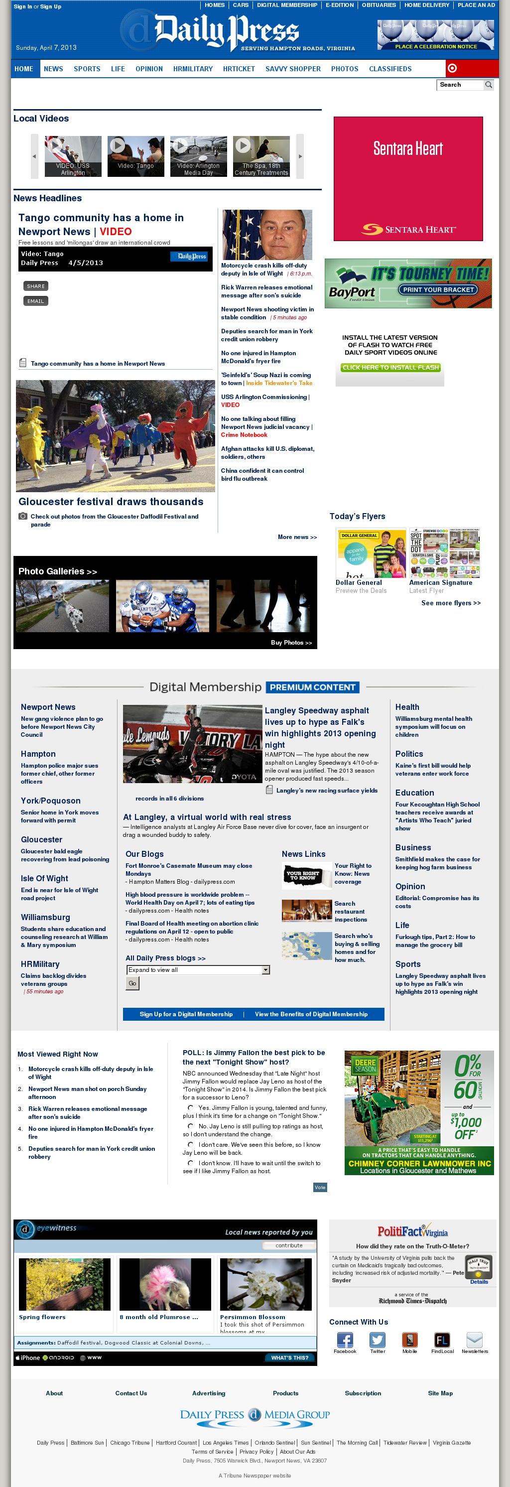 (Hampton Roads) Daily Press at Monday April 8, 2013, 12:04 a.m. UTC