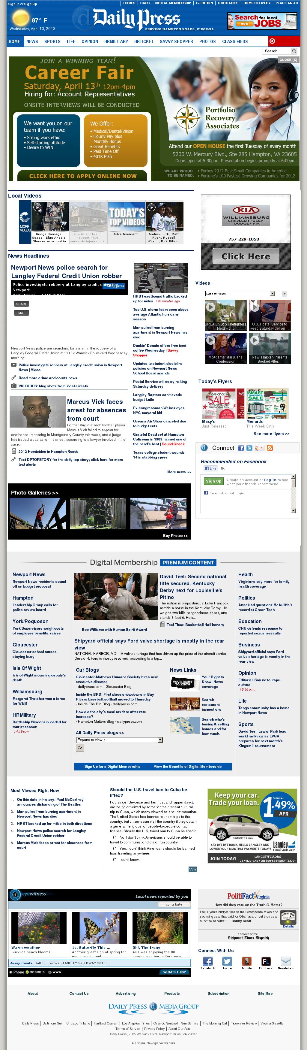 (Hampton Roads) Daily Press at Wednesday April 10, 2013, 11:06 p.m. UTC